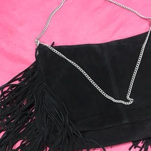 Suede purse with fringe- new